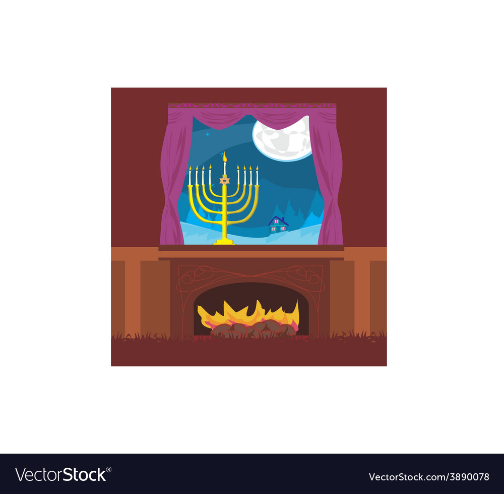 Candlestick in window - hanukkah vector | Price: 1 Credit (USD $1)