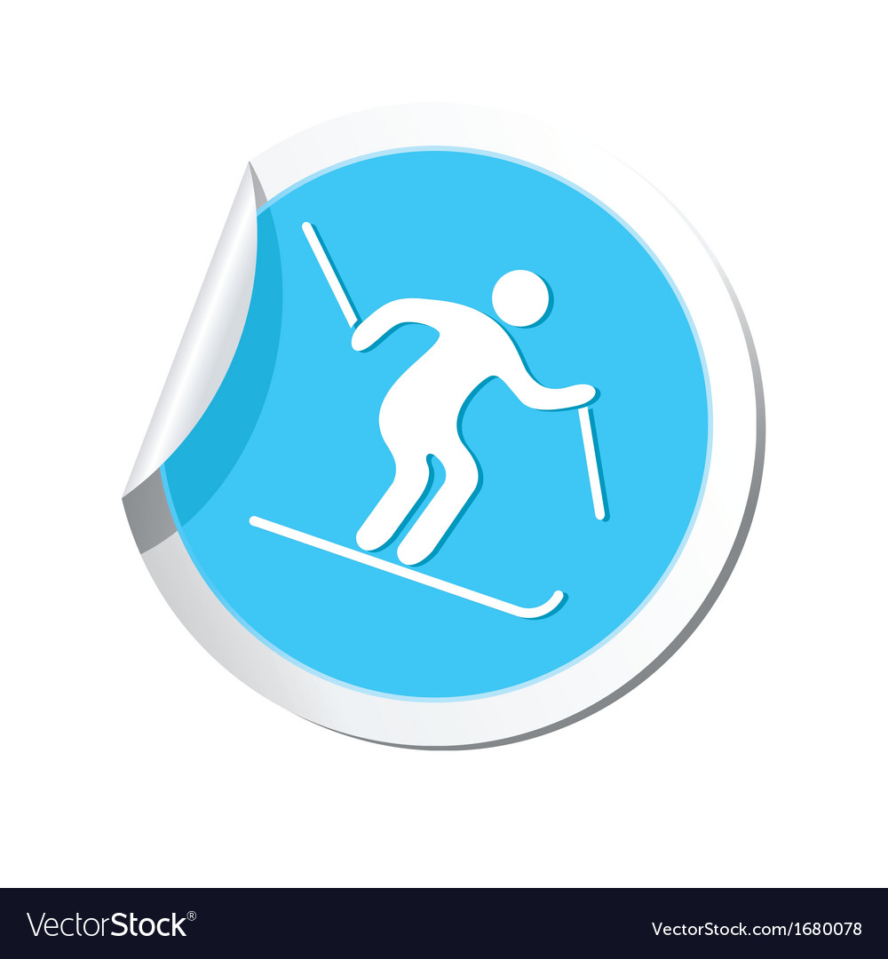 Downhill skiing icon round blue vector | Price: 1 Credit (USD $1)