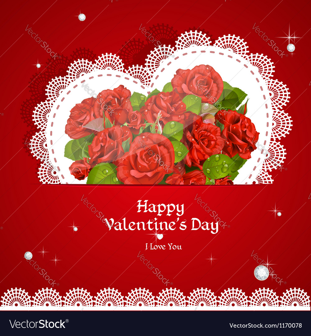 Laced with red roses applique valentine card vector | Price: 1 Credit (USD $1)