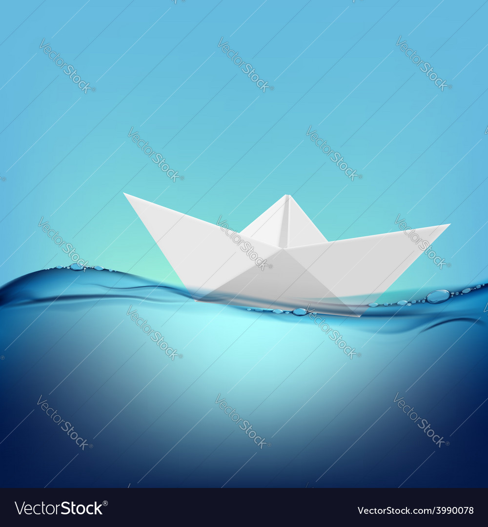 Paper boat floating on the water surface vector | Price: 1 Credit (USD $1)