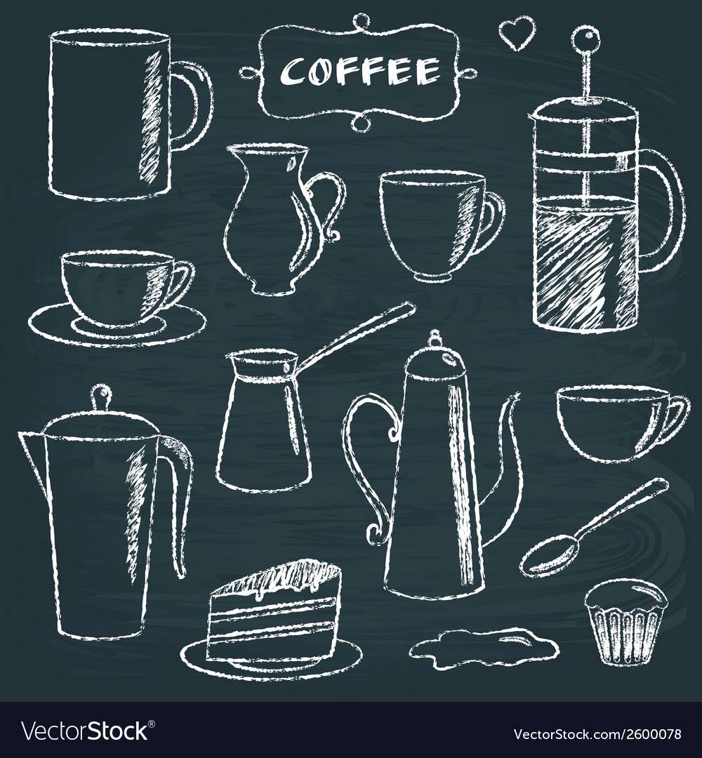 Set of chalkboard coffee items vector | Price: 1 Credit (USD $1)