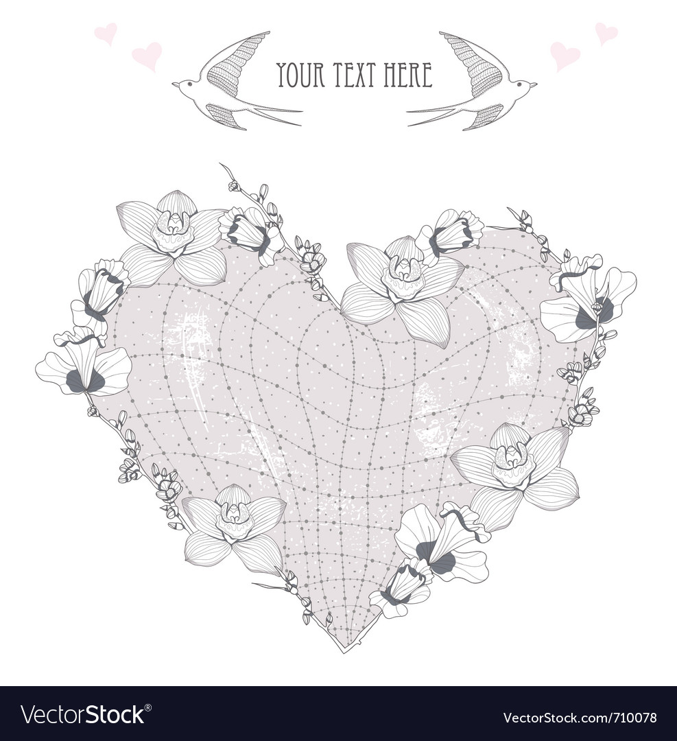 Valentines day card heart made from flowers postca vector | Price: 1 Credit (USD $1)