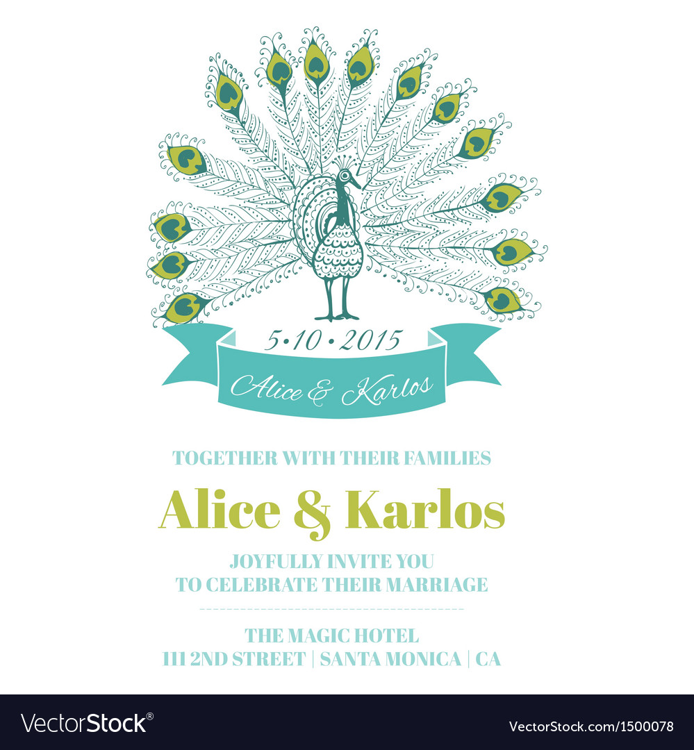 Wedding vintage invitation - peacock theme vector | Price: 1 Credit (USD $1)