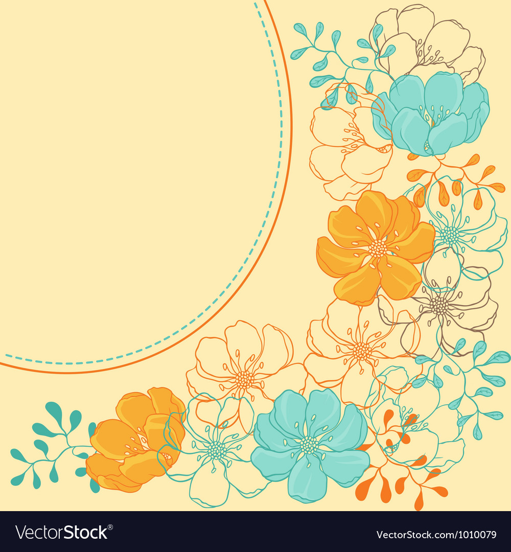 Background with hand drawn stylish flowers vector | Price: 1 Credit (USD $1)
