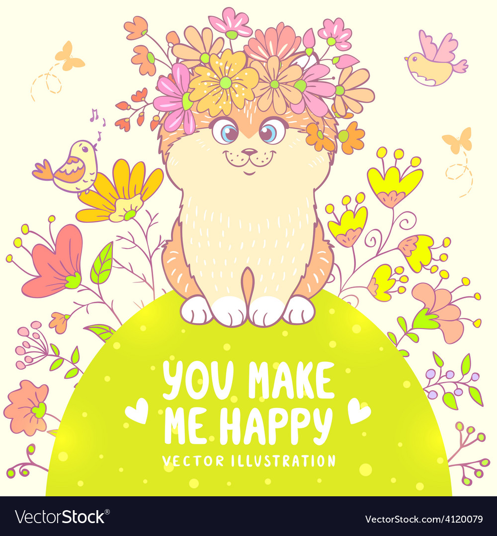 Cat on the meadow vector | Price: 1 Credit (USD $1)