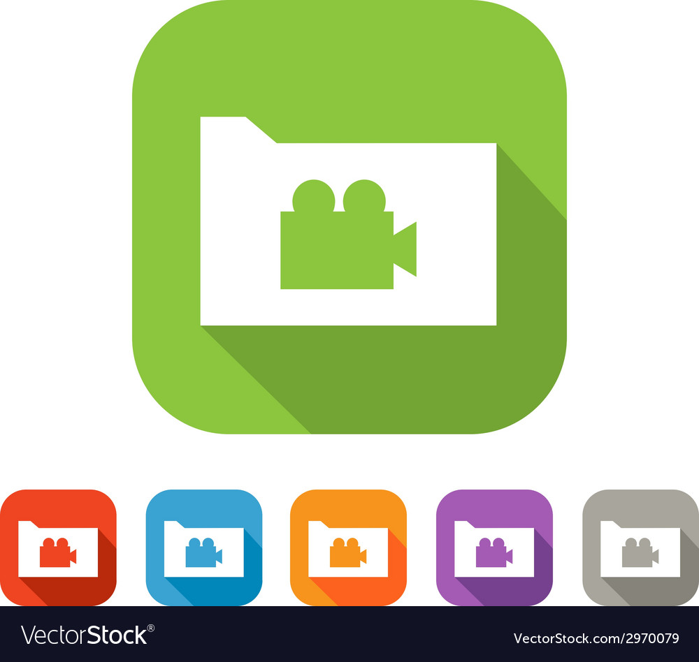 Color set of flat folder with video sign vector | Price: 1 Credit (USD $1)