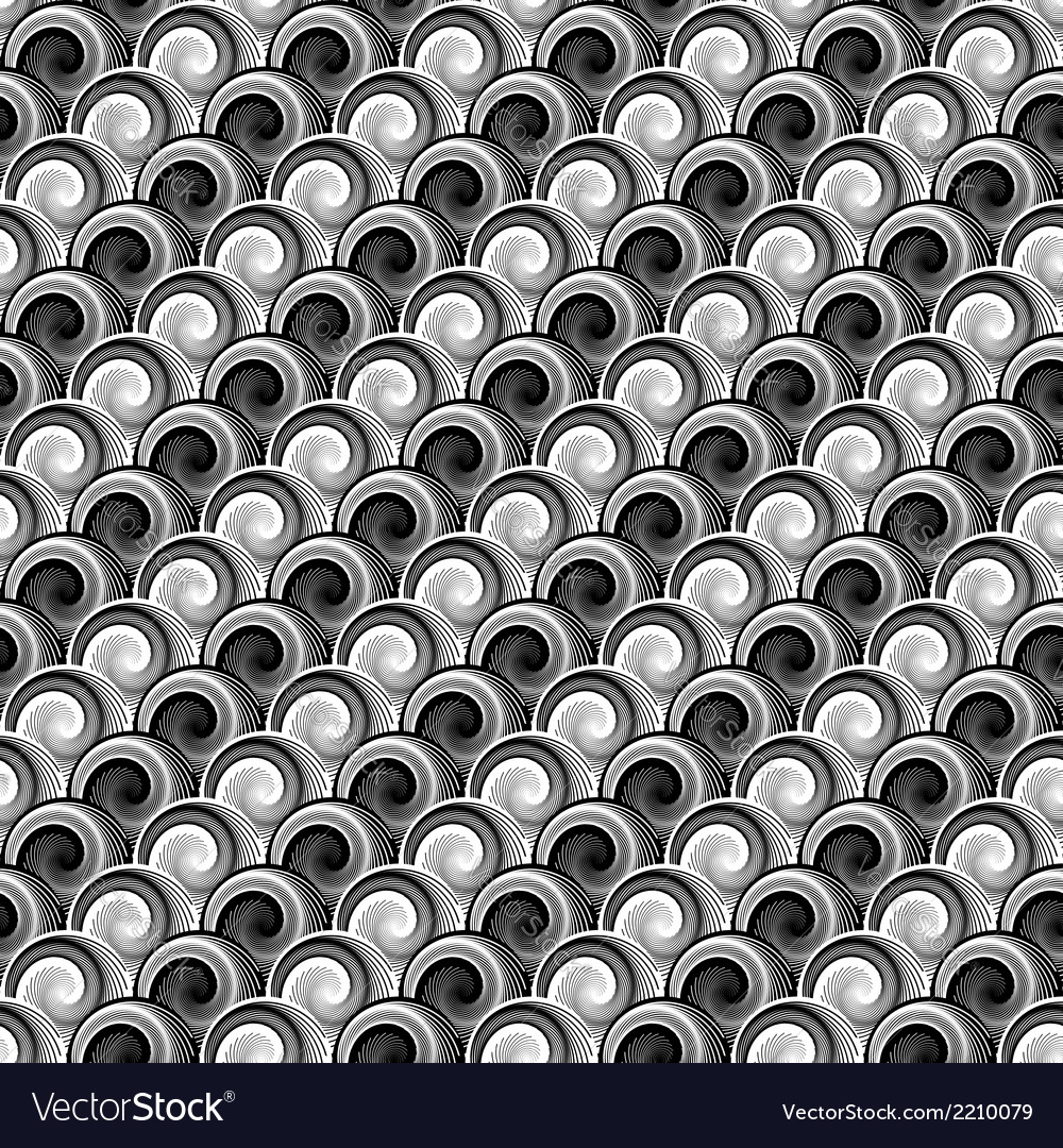 Design seamless monochrome whirlpool pattern vector | Price: 1 Credit (USD $1)