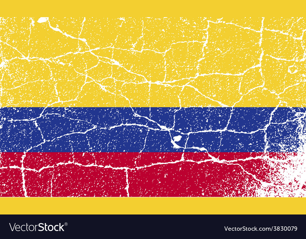 Flag of colombia with old texture vector | Price: 1 Credit (USD $1)