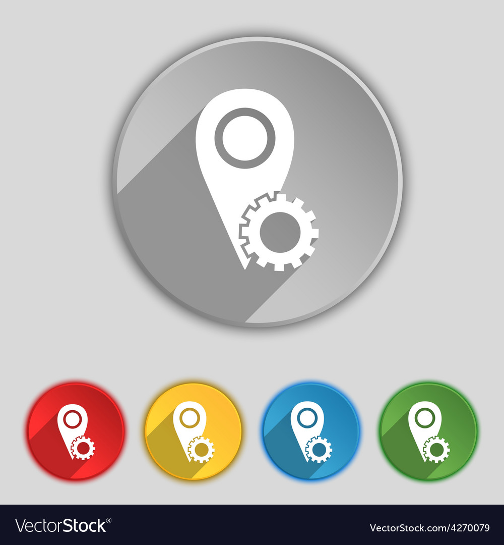 Map pointer setting icon sign symbol on five flat vector | Price: 1 Credit (USD $1)
