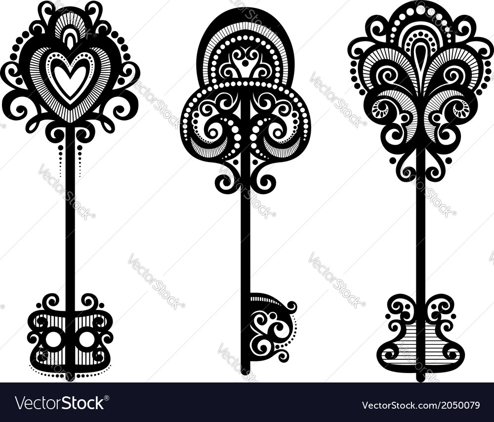 Set of vintage ornate keys vector | Price: 1 Credit (USD $1)