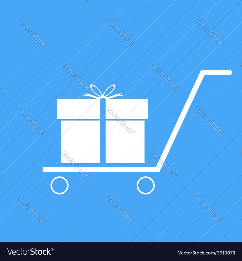 Shopping trolley with gift box vector   Price: 1 Credit (USD $1)