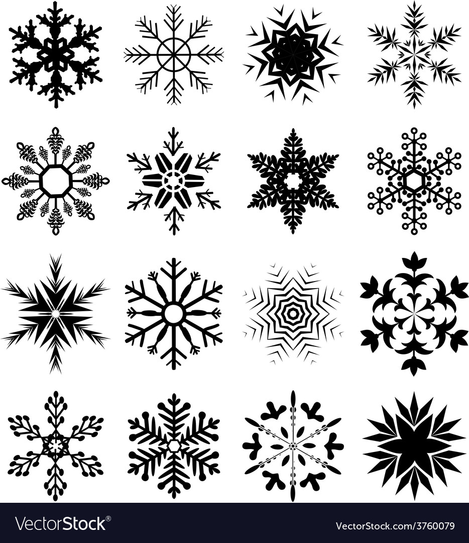 Snowflake icons set vector | Price: 1 Credit (USD $1)