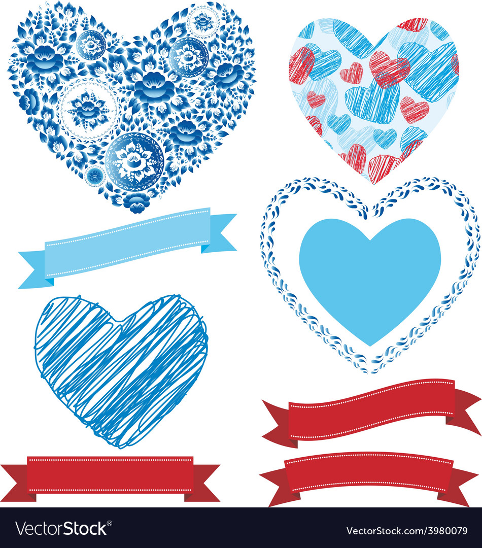 Wedding romantic collection ribbons hearts flowers vector | Price: 1 Credit (USD $1)