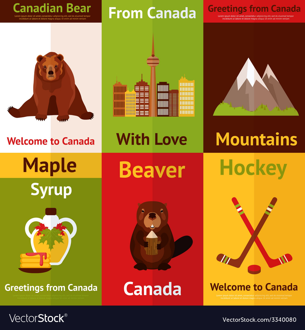 Canada mini poster set vector | Price: 1 Credit (USD $1)