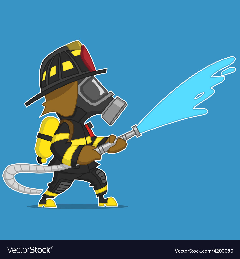 Firefighter extinguishes vector | Price: 3 Credit (USD $3)