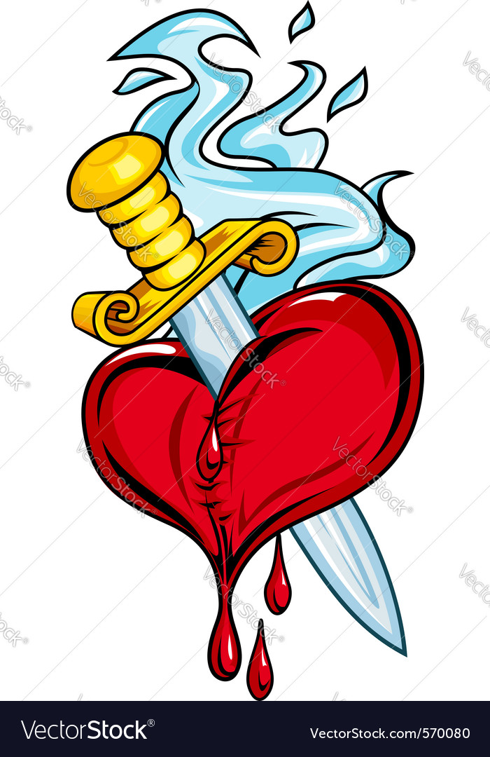 Heart with dagger vector | Price: 1 Credit (USD $1)