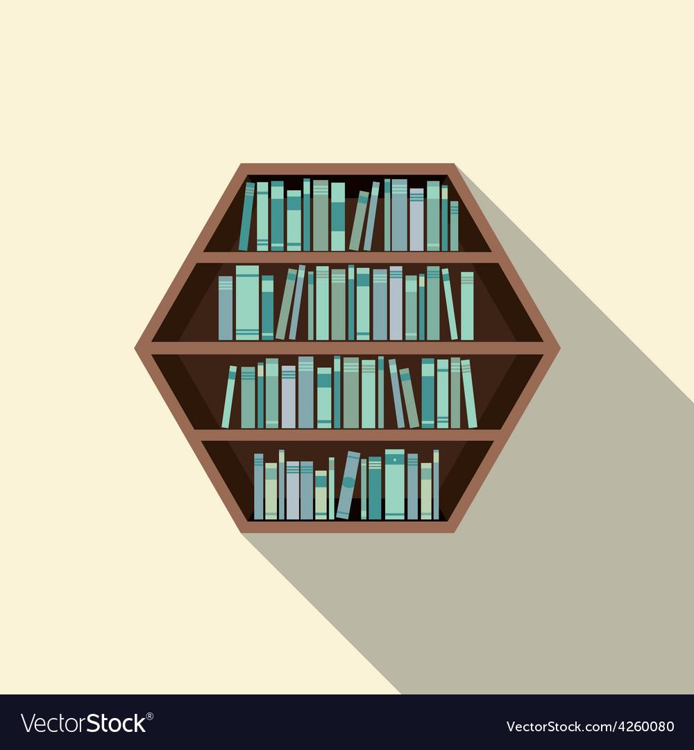 Hexagon bookshelf on wall vector | Price: 1 Credit (USD $1)