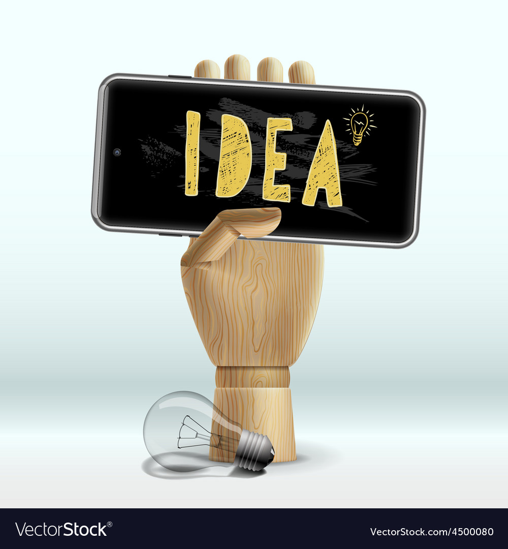 Idea concept wooden human hand with mobile phone vector   Price: 3 Credit (USD $3)