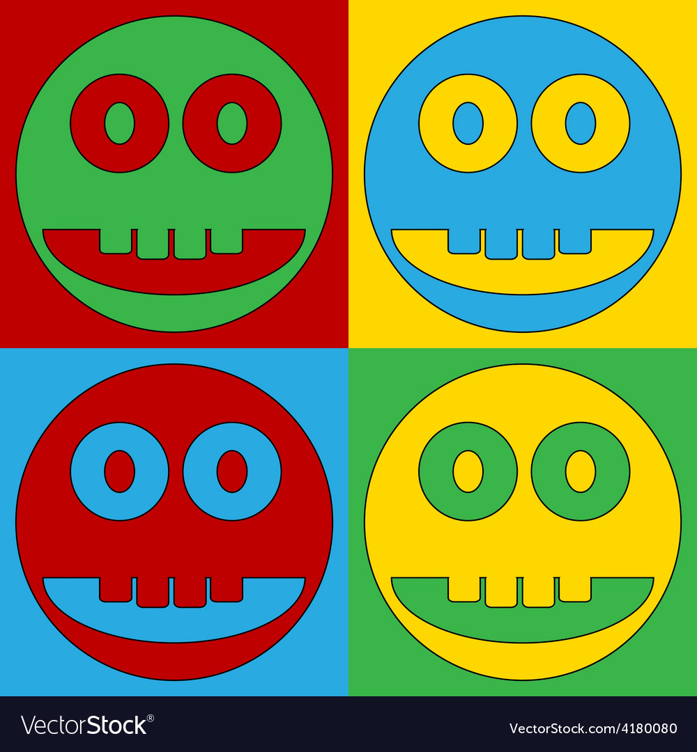 Pop art smile face circle icons vector | Price: 1 Credit (USD $1)