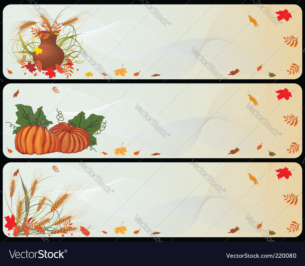 Set of autumnal banners vector | Price: 1 Credit (USD $1)