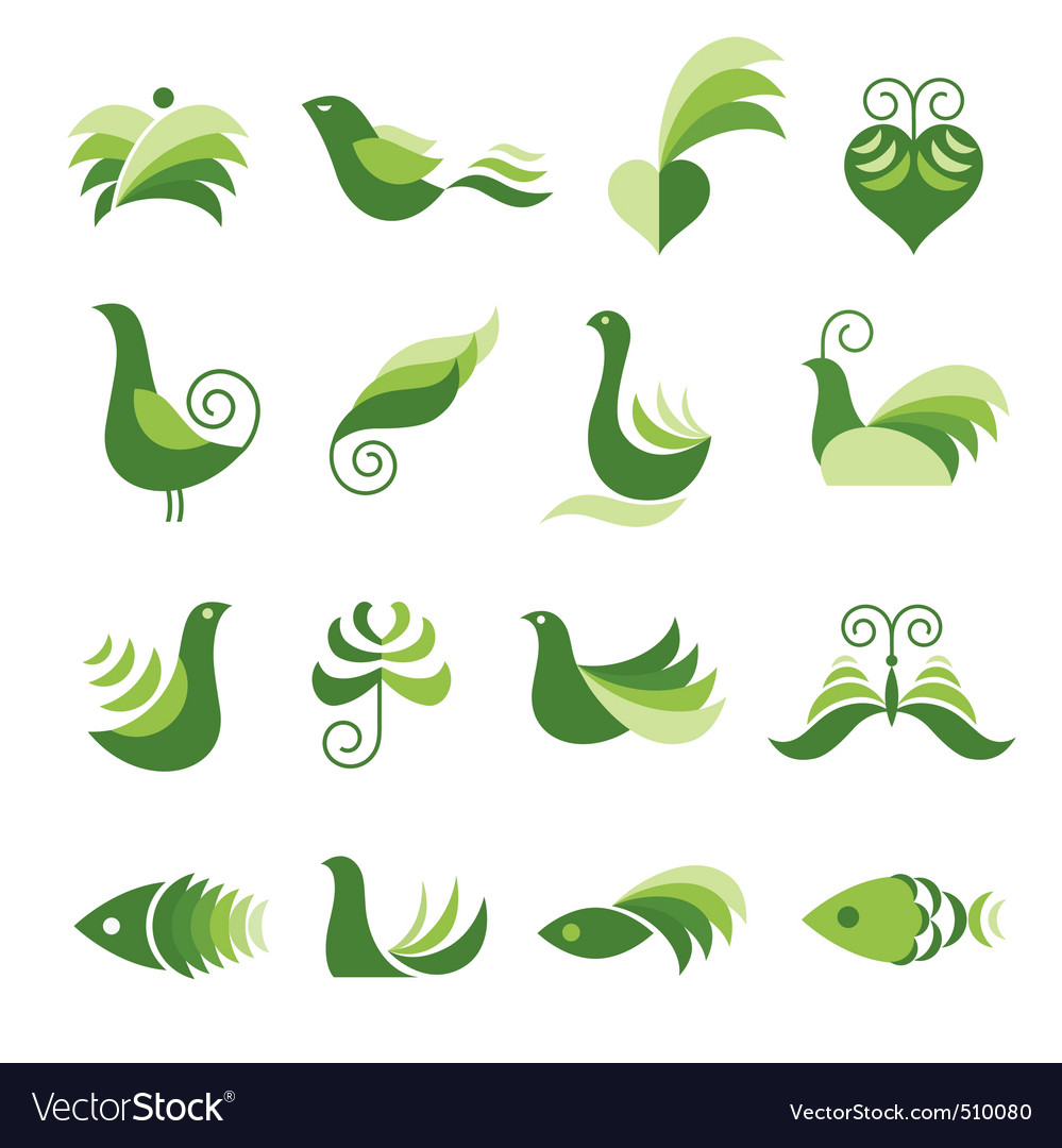 Set of green design elements vector | Price: 1 Credit (USD $1)