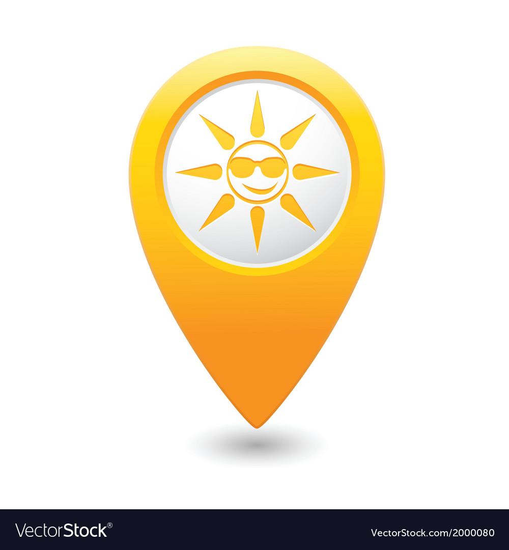 Sun symbol yellow map pointer vector | Price: 1 Credit (USD $1)