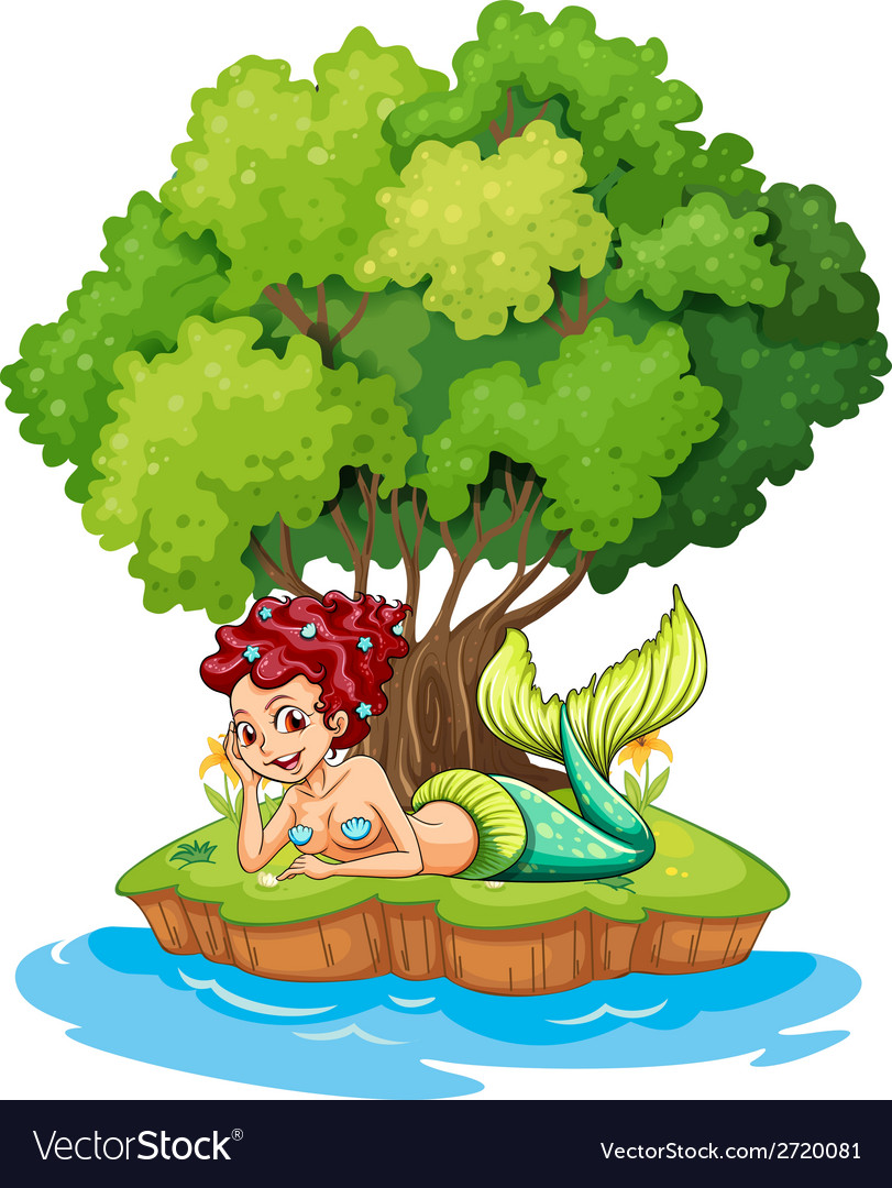 A mermaid in the island vector | Price: 1 Credit (USD $1)