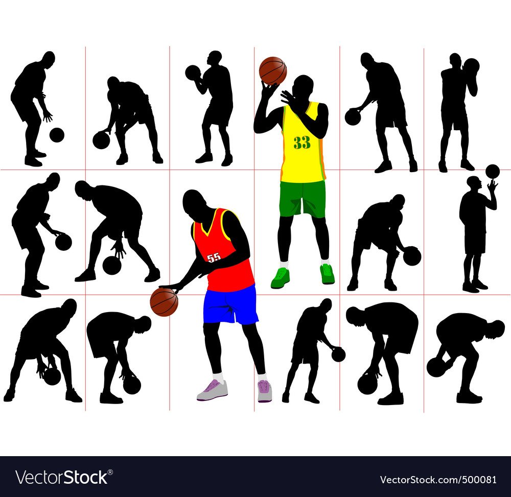 Basketball silhouettes vector | Price: 1 Credit (USD $1)