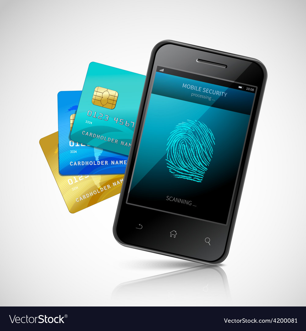 Biometric mobile payment vector | Price: 1 Credit (USD $1)