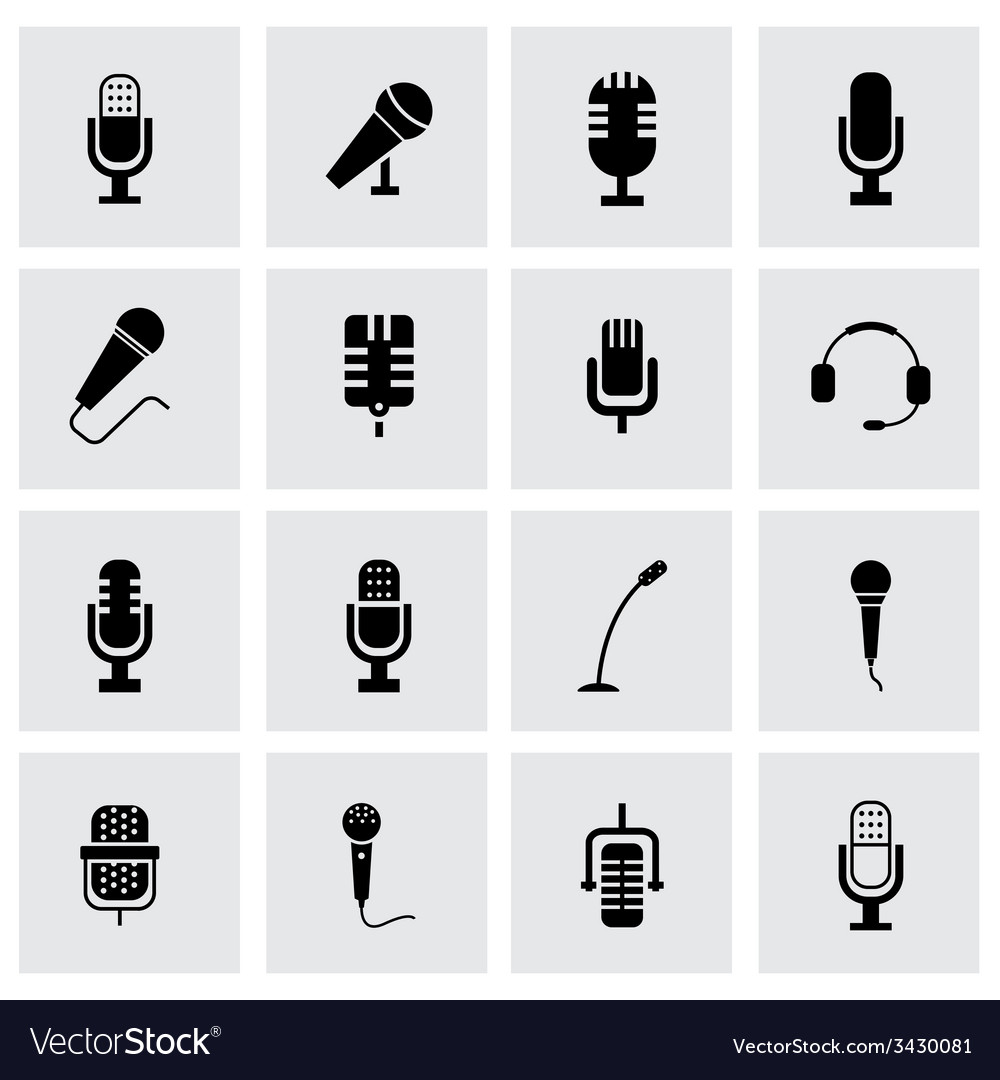 Black microphone icon set vector | Price: 1 Credit (USD $1)