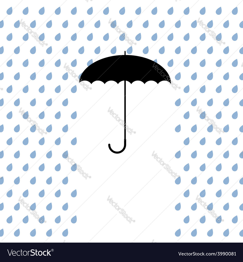 Black umbrella protects from rain vector | Price: 1 Credit (USD $1)