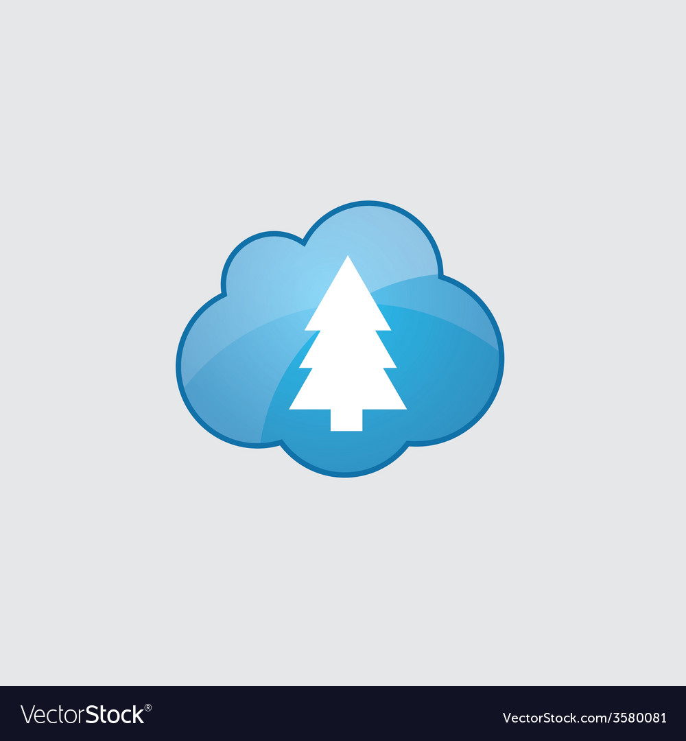 Blue fir-tree icon vector | Price: 1 Credit (USD $1)