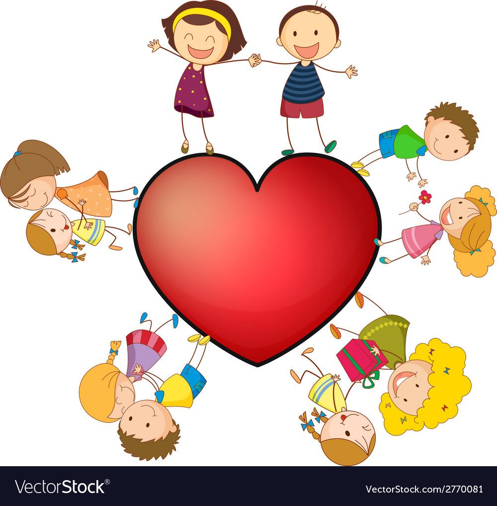 Children and heart vector