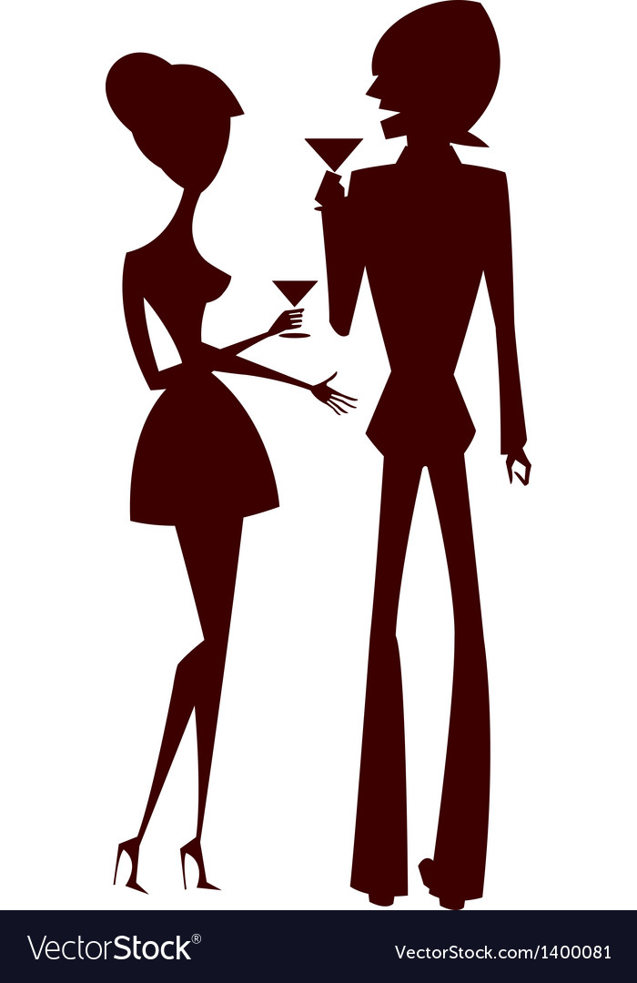 Cocktail couple silhouette vector | Price: 1 Credit (USD $1)