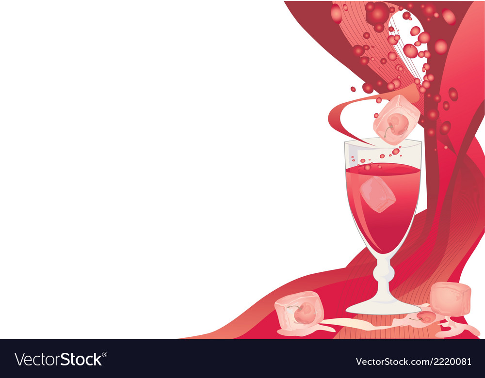 Drink card with ice and cherries vector | Price: 1 Credit (USD $1)