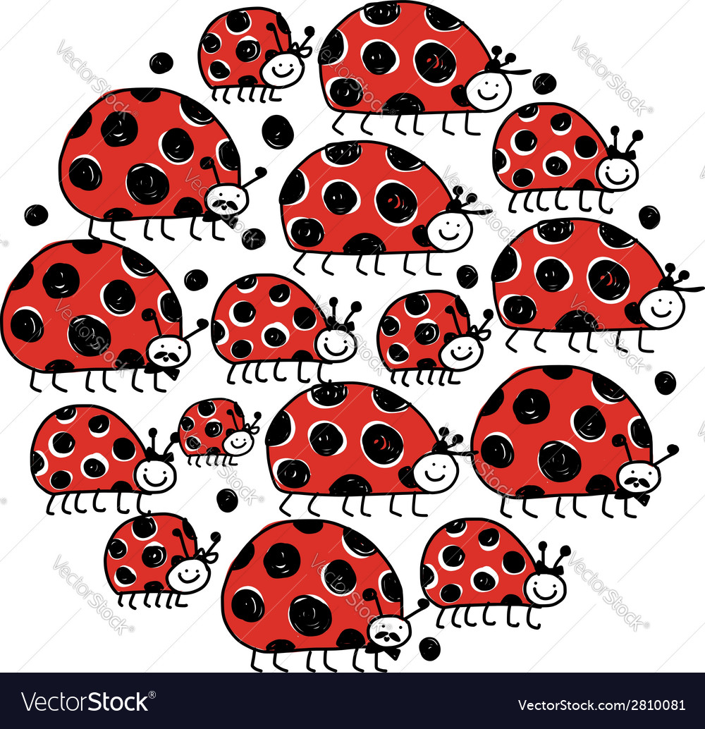 Ladybird family frame for your design vector | Price: 1 Credit (USD $1)