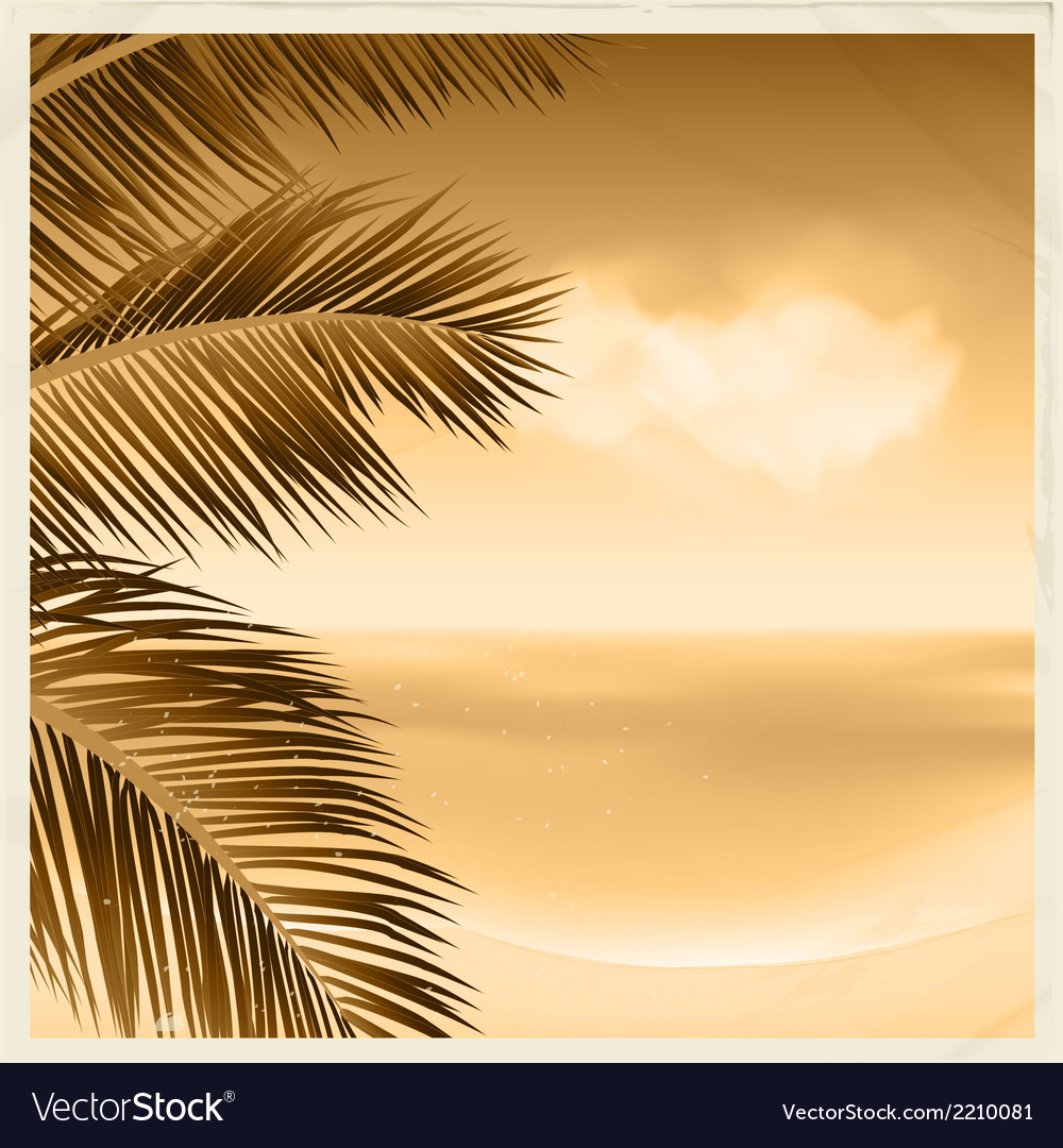 Vintage sepia tropical scene vector | Price: 1 Credit (USD $1)