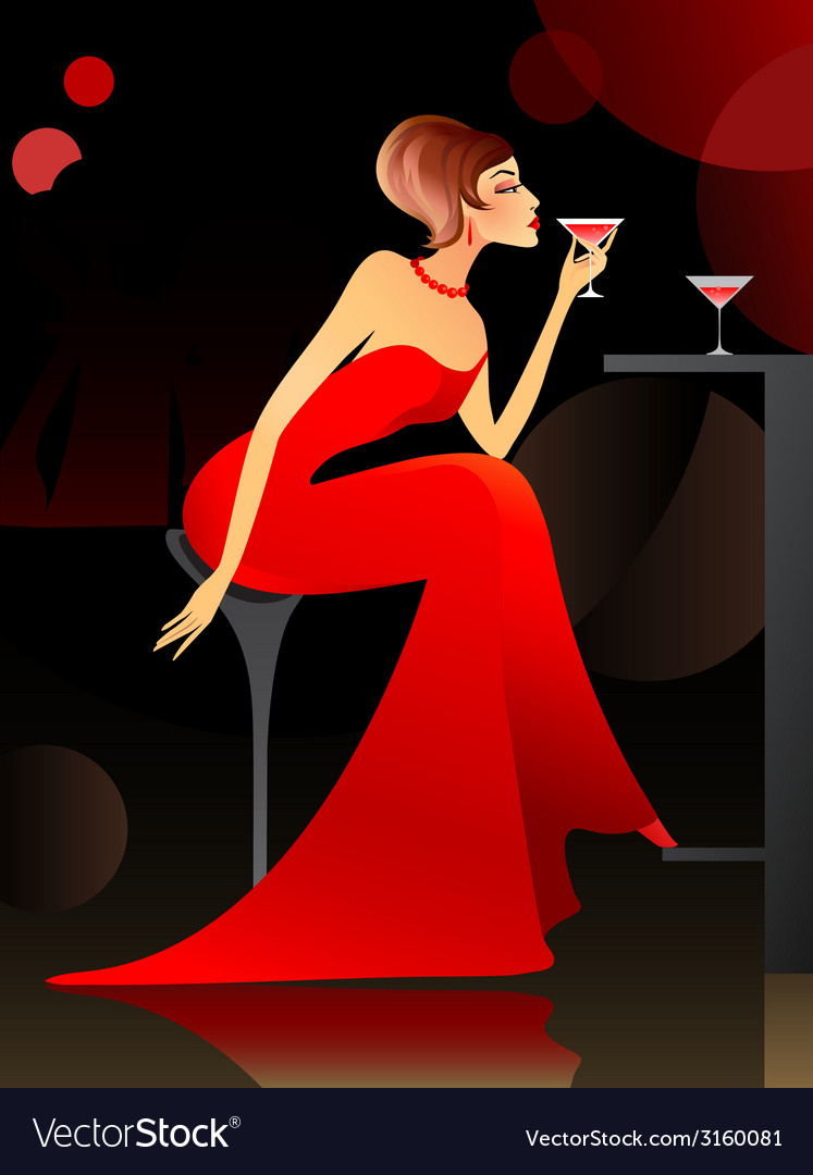 Woman at the bar vector | Price: 1 Credit (USD $1)