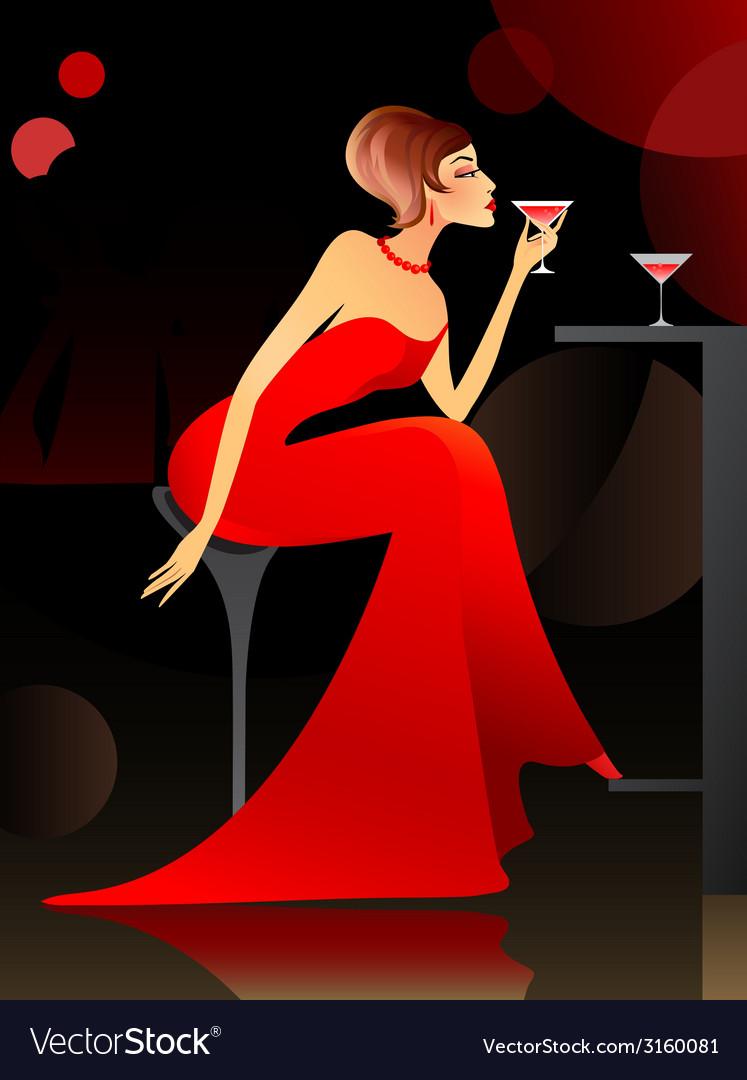 Woman at the bar vector | Price: 1 Credit (USD $1)