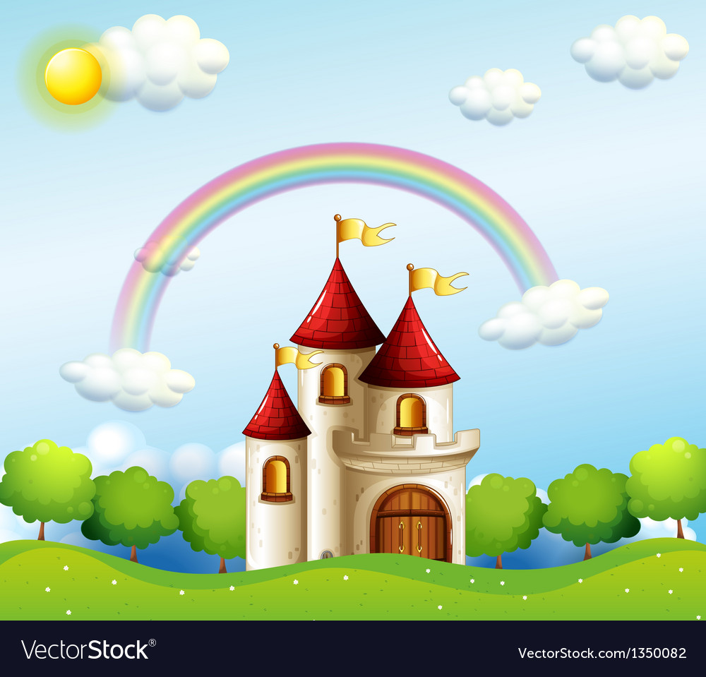 A castle below the rainbow vector | Price: 1 Credit (USD $1)