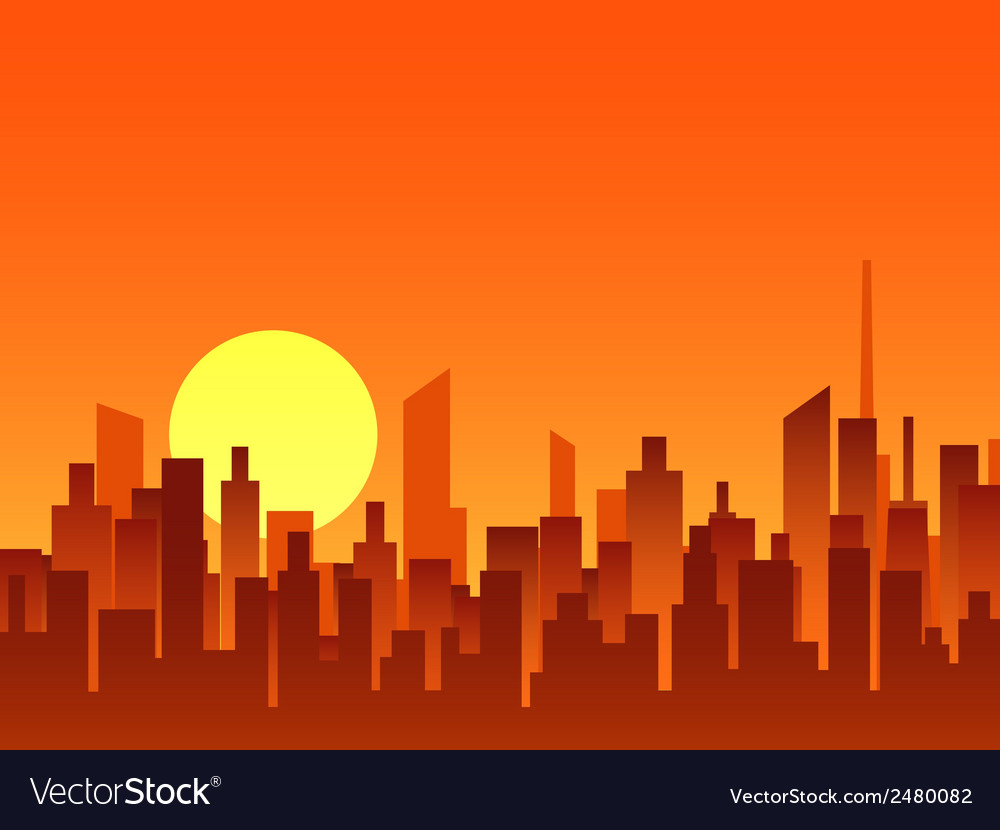 Big city bright sunrise vector | Price: 1 Credit (USD $1)