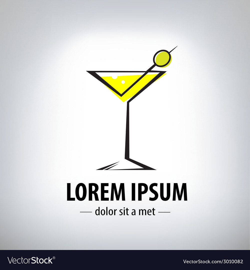Cocktail party glass design logo vector