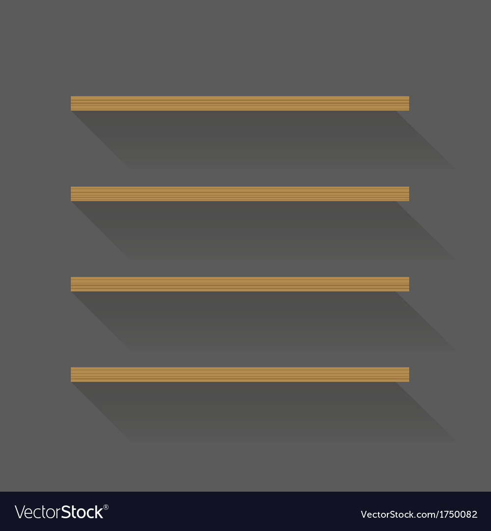 Flat design empty book shelves vector | Price: 1 Credit (USD $1)