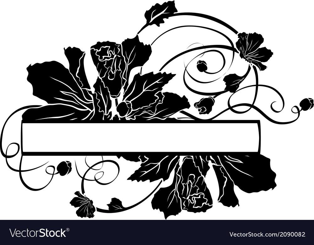 Floral banner black stencil vector | Price: 1 Credit (USD $1)