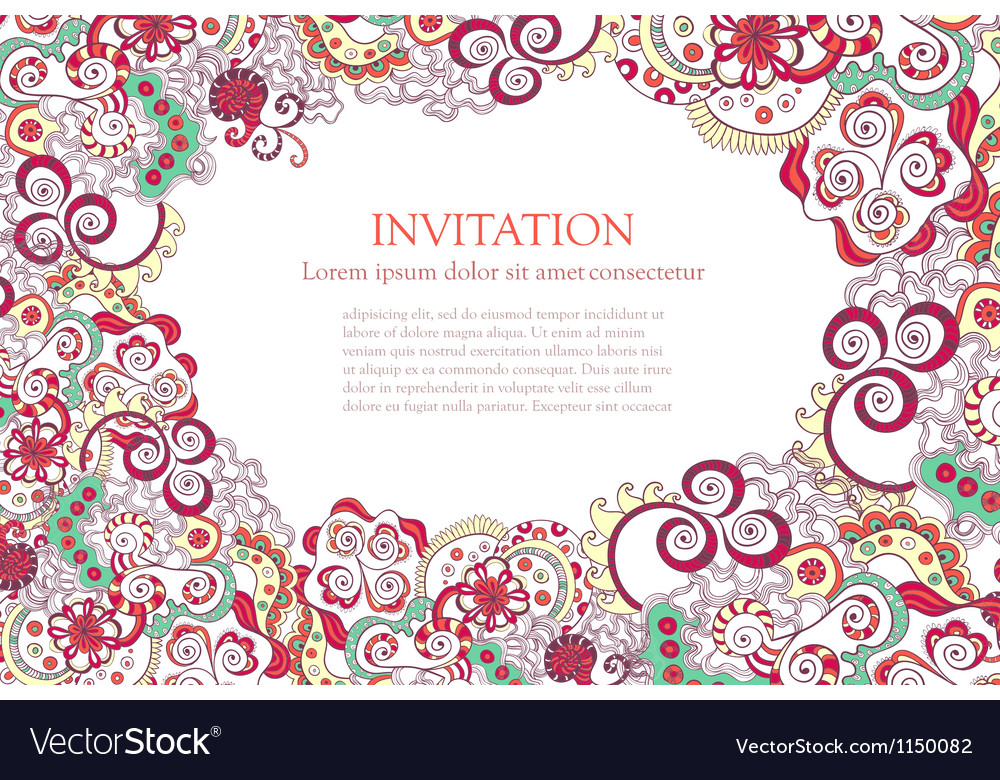 Floral ornament invitation background vector | Price: 1 Credit (USD $1)