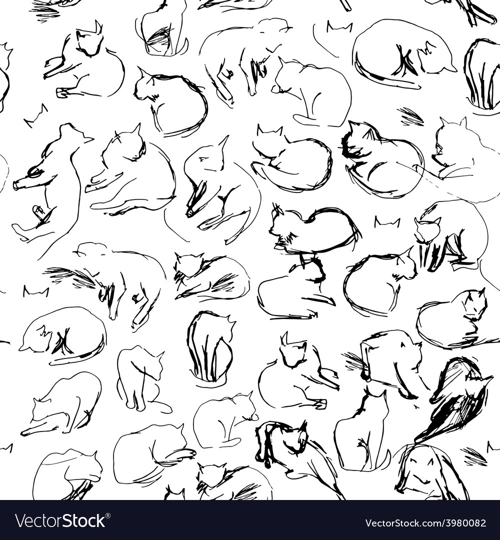 Freehand sketch seamless patern with black cats on vector | Price: 1 Credit (USD $1)