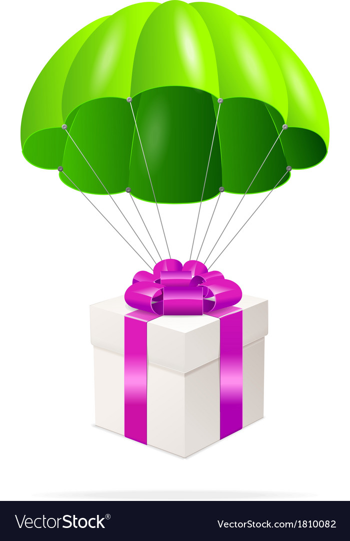 Green parachute with a gift box vector   Price: 1 Credit (USD $1)