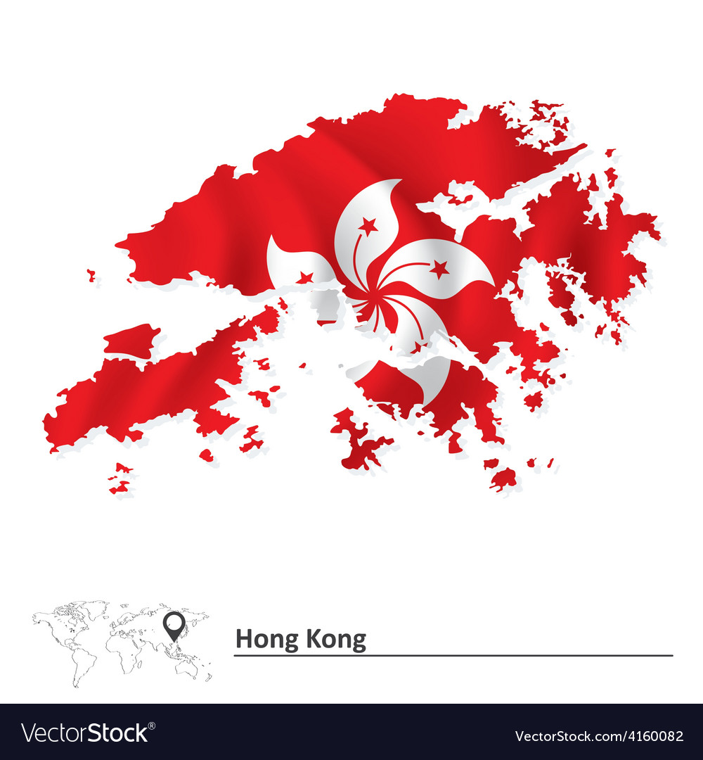Map of hong kong with flag vector | Price: 1 Credit (USD $1)