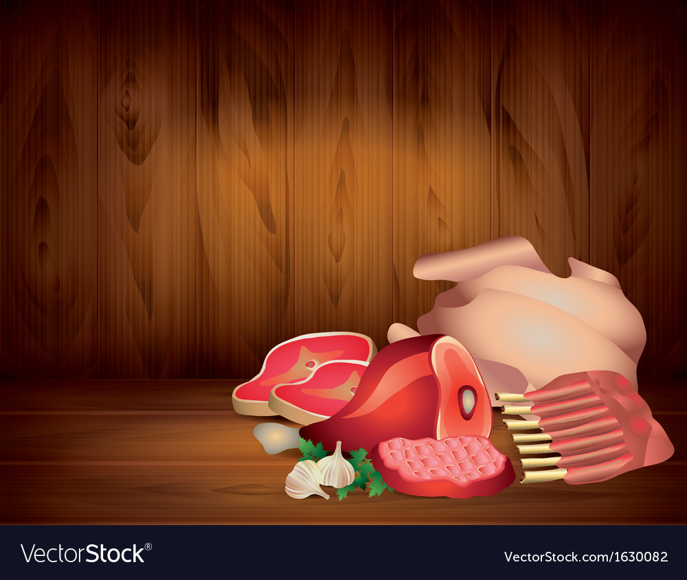 Meat wood background vector | Price: 1 Credit (USD $1)