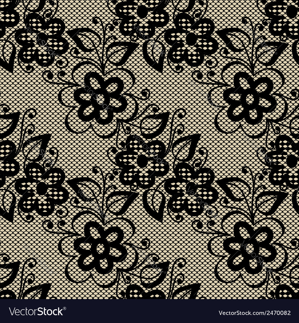Seamless black lace on beige background vector | Price: 1 Credit (USD $1)